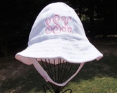 Monogrammed Infant White Sun Hat