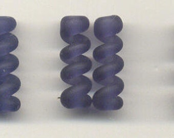 Tom's lampwork satin (etched) frosted ink blue (iolite) twist cylinder beads, drops, spacers 20mm, 2 beads, 1 pair, 97741-2