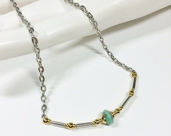 Dainty Minimalist Micro Czech Turquoise Gold and Silver Combo Curved Glass Bugle Beaded  Bar Necklace / Delicate / Gift for Her
