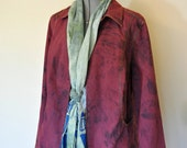 Red 18/20W XL Denim Jacket - Red Wine Hand Dyed Upcycled Essentials Denim Barn Trucker Jacket - Adult Women Extra Large (48 chest)