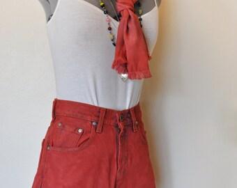 "Red Sz 3 Levi's 550 Denim SHORTS - Scarlet Red Dyed Denim Vintage Levi's Cut Off Shorts - Adult Womens Size 3 Jr M (26"" Waist)"