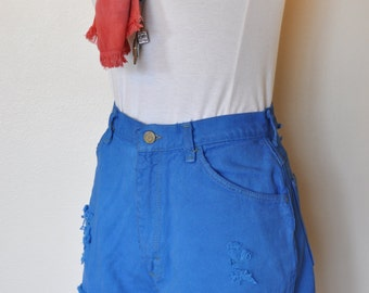 Blue Sz 28 Wrangler SHORTS - Bright Blue Dyed Denim High Waist Vintage Shorts - Adult Womens (27 Waist)