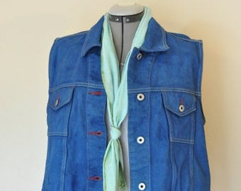Blue Jr. XL Jean VEST Jacket - Royal Blue Hand Dyed Upcycled B Equipment Jeans Denim Trucker Vest - Adult Womens Size Extra Large (42 chest)