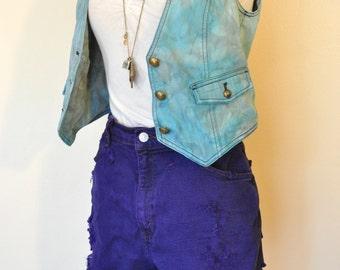Violet Sz 12 Levis Denim SHORTS - Deep Purple Dyed Denim Distressed Levis High Waist Denim Jean Shorts - Adult Womens Size 12 (32-33 Waist)