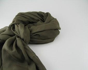 Silk Chiffon Scarf --- Olive