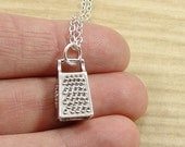 Cheese Grater Necklace, Silver Plated Cheese Grater Charm on a Silver Cable Chain