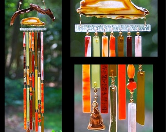 Wind Chimes Recycled Beach Glass Sea Glass Suncatcher Driftwood Wind Chimes Stained Glass Sun Catcher - Down to Earth