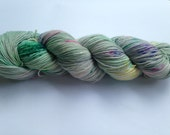 Hand Dyed Yarn - Merino / Nylon - Fingering Weight / Sock Weight Color Change - speckled kelly green, pink, yellow, violet