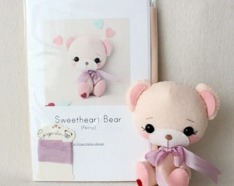 Peony Sweetheart Bear Pattern Kit (PURE Felts)