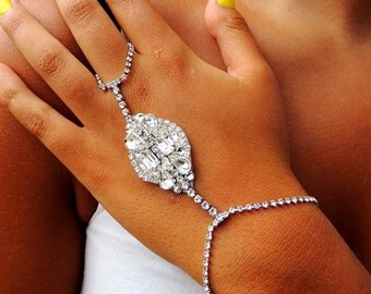 Rhinestone hand chain Slave Bracelet hand piece hand chain Bohemian Boho Chic Hippie Vintage Hipster Hand Body Jewelry Wedding Bridal