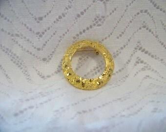 Vintage Mamselle Etched Goldtone Brooch 60's Brooch