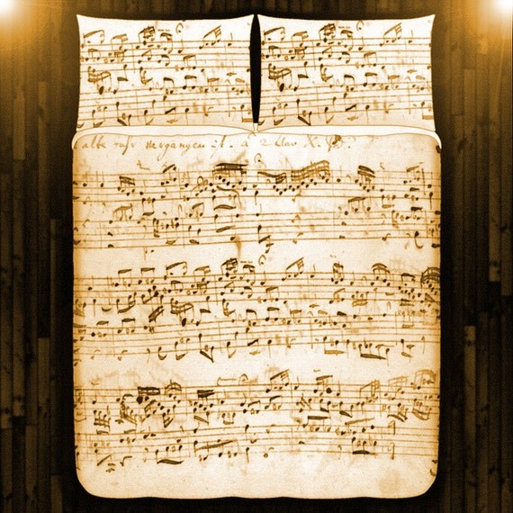 Vintage Antique Sheet Music Duvet Cover Bedding Queen Size