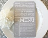 PRINTED Wedding Reception Thank You Menu Double Sided - Style MTY4 - SOFT Gray COLLECTION