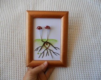 Lovers  MIni Mushroom Pair Heart Roots Framed Wall Hanging Art  Mushrooms