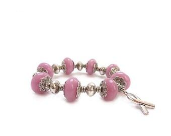 Pink Jade Awareness Bracelet - Breast Cancer - Silver Ribbon - 50% Charity Donation - Hope Survivor Bracelet