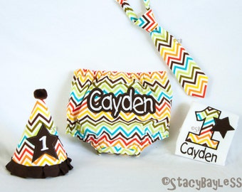 Fall Themed Chevron Cake Smash Party Outfit for Baby Boy 1st Birthday