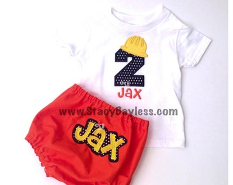 Construction Cake Smash Party Outfit for Baby Boy Birthday - First Second Third Fourth Birthday Party