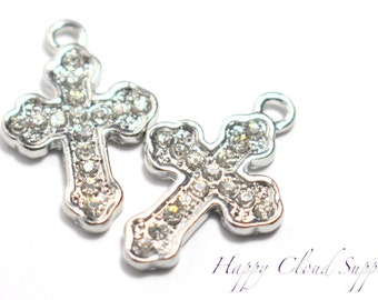 Silver Cross Rhinestone Charm... 2pcs