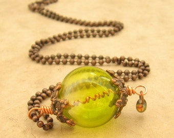 Absinthe Green Necklace -  Green Glass Orb Ball Chain Necklace