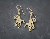hanging monkey earrings, golden monkey earrings, monkey earrings