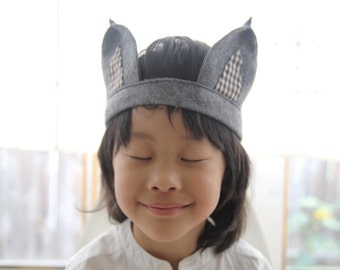 Handmade Gray Felt Gingham Woodland Wolf Ears Headband