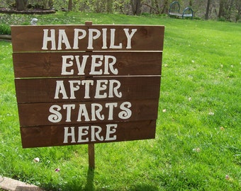 rustic wedding signs , reception sign , ceremony sign , wooden Signs, happily ever after , personalized sign / wedding signage , custom sign