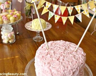Vintage Lemon Yellow Lemonade Party Fabric Cake Bunting Decoration / Lemonade Stand Pink Lemonade Birthday / Handmade Whimsical Wedding