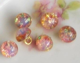 N1290I Vintage Glass Buttons Harlequin Fire Opal Doll Clothing Tiny Pink Rare Cottage Chic Dolls Beads Brass Shank Mini
