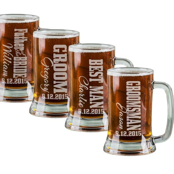 Personalized Beer Mugs Wedding Gift : 16 Oz Groomsmen Beer Mugs Engraved Wedding Party Groomsman Best Man ...
