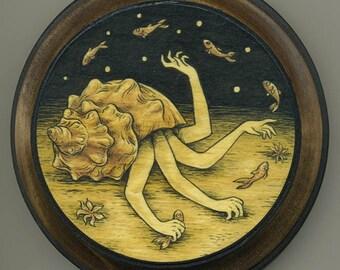mounted print wood art- Hermit
