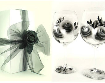 Wine Glass Gift Set, Hand Painted Silver and Black Rose Glasses, Set of 2 with Gift Box and Satin Rose - Drinkware 25th Anniversary
