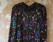 vintage.  70s 80s Indian Black Sequins and Beaded Silk Blouse with Flower Print  // S to M