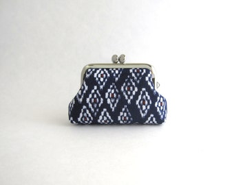Mini Frame Jewelry Case with Ring Pillow- Navy blue rhombus coin purse