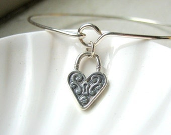 Victorian Heart Lock Bangle Bracelet  - Sterling Silver Bangle - Stacking Bracelet - Love Padlock