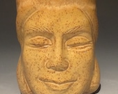Face Cup Pottery Buddha Head Sculpture Meditation Art Vessel Yunomi