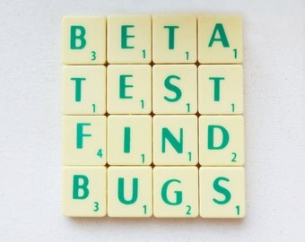 Beta Test Coaster, Upcycled Scrabble Tiles, Geeky Gaming Quotes, Cork Backing, Desk Accessories