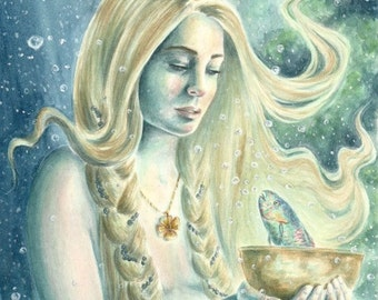 Page of Cups - fantasy fairy gothic art by Deanna Bach for 78 Tarot Nautical