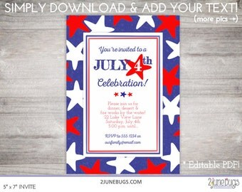 Printable July 4th invitation 4th of July invitation Independence Day EDITABLE - INSTANT DOWNLOAD