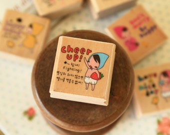CHEER UP Pony Brown Red Riding Hood Girl wood rubber stamp
