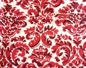 Vintage Traditional Red Acanthus Leaf Print on Linen Weave Fabric 2 yards