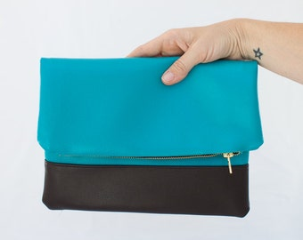 Vegan Leather Foldover lined clutch
