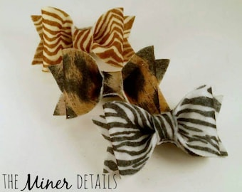 Felt Animal print bow clips or headbands set