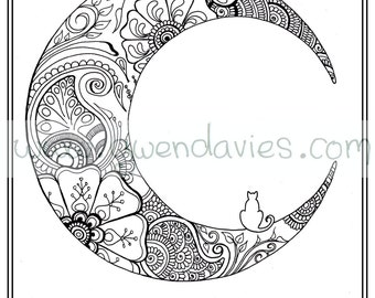 Adult Colouring In PDF Download Moon Cat Calming Mindfulness Henna Zen Mandalas Flower Anti Stress