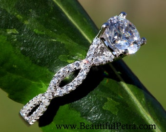 Diamond Engagement Ring - 1.25 carat Round - Pave - Antique Style - 14K white gold - Weddings- Luxury- Brides -BP004
