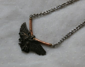 Vintage Eagle Necklace, His or Hers, Metal Eagle on Silver Toned Metal Chain
