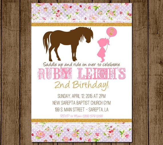 Horse Birthday Invitation Pony Invitation Girl Birthday