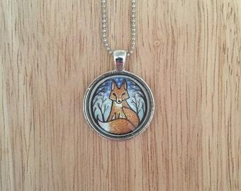 Nighttime Fox Pendant Necklace