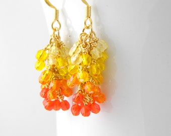 Flame Ombre Cascade Earrings, Yellow, Orange, Red, Gold Surgical Steel Earrings