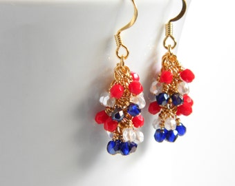 Patriotic Cluster Earrings in Gold, Red, White and Blue, Independence Day, Summer Olympics