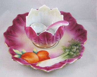 Antique Made In Japan Hand Painted Chip & Dip Set Fuschia Celery Nippon